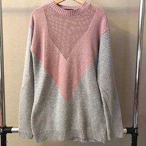 Pretty Little Thing V design gray and pink sweater